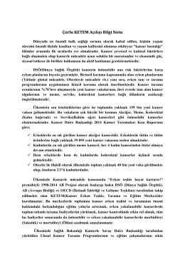 Çorlu KETEM Açılışı Bilgi Notu - Tekirdağ Halk Sağlığı Müdürlüğü