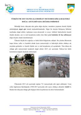 Türkiye`de 2015 Yılında Kaydedilen Meteorolojik Karakterli Doğal