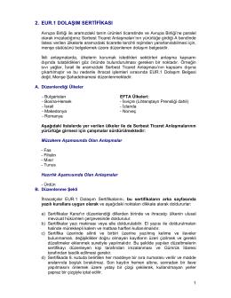 EUR.1 Dolaşım Sertifikası - Mersin Ticaret Ve Sanayi Odası