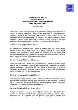 Yönetim Kurulu Başkanı Hüseyin Aydın`ın Uluslararası Finans