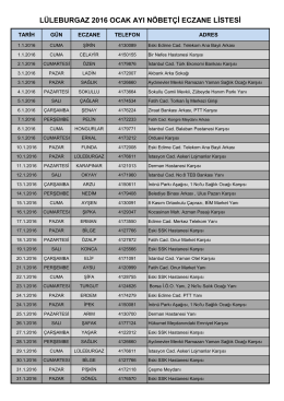 lüleburgaz 2016 ocak ayı nöbetçi eczane listesi