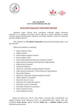 müşteri ilişkileri yönetimi eğitimi hk.