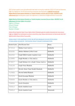 İllerden Gelen ve Sehven Özür Grubuna Açılan Okul Listeleri 20.01