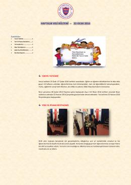 22 Ocak 2016 - Özel Bilkent İlköğretim Okulu