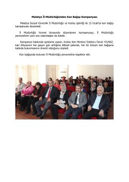 Malatya İl Müdürlüğünden Kan Bağışı Kampanyası Malatya
