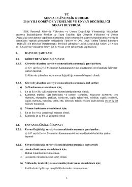 2016 yılı görevde yükselme ve unvan değişikliği sınavı duyurusu