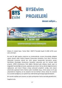 Ankara ili, Çubuk ilçesi, Yenice Mah. 104/72 Parselde kayıtlı