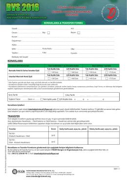 Konaklama ve Transfer formu için tıklayınız