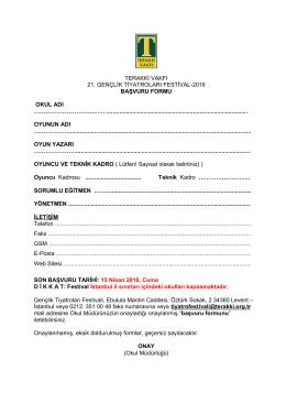 başvuru formu - Terakki Vakfı Okulları
