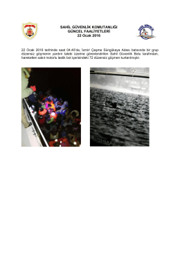 22 Ocak 2016 - Sahil Güvenlik Komutanlığı