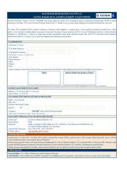 Haznedar Refrakter Sanayi Talep Formu