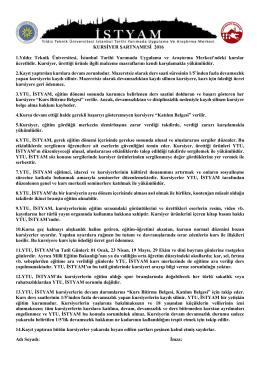 KAYIT FORMU SON HALİ - Yıldız Teknik Üniversitesi ISTYAM