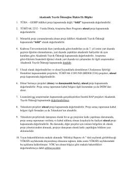 Akademik Teşvik Ödeneğine İlişkin Ek Bilgiler 1. TÜBA – GEBİP