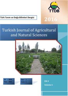 Cover Page – Kapak Sayfası - Turkish Journal of Agricultural and