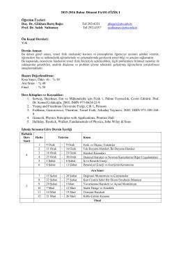 Fiz101-FİZİK I - TOBB ETU Servis Fizik Dersleri Bilgilendirme Sayfasi
