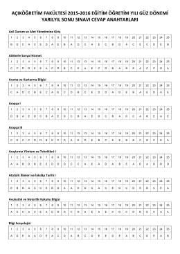 açıköğretim fakültesi 2015-2016 eğitim öğretim yılı güz dönemi