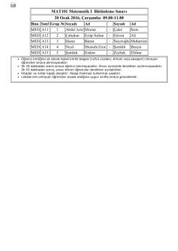 MAT101 Matematik I Bütünleme Sınavı 20 Ocak 2016, Çarşamba