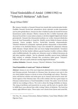 "Yûsuf Sinânüddîn el-Amâsî (1000/1592) ve ""Tebyînü`l"
