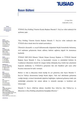 TÜSİAD, Koç Holding Yönetim Kurulu Başkanı Mustafa V. Koç`un