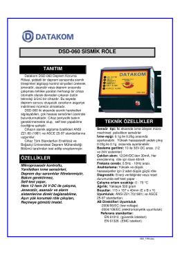 DSD-060 SİSMİK RÖLE
