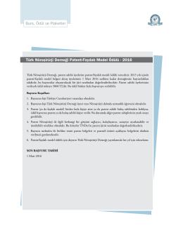Burs, Ödül ve Plaketler Türk Nöroşirürji Derneği Patent