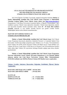 tc celal bayar üniversitesi fen bilimleri enstitüsü 2015