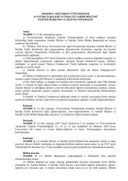 Atatürk İlkeleri ve İnkilâp Tarihi Bölümü Eğitim