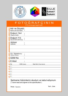 yarışma katılım formu