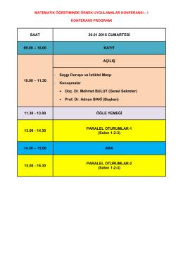 Matematik Öğretiminde Örnek Uygulamalar Konferansı`nın programı
