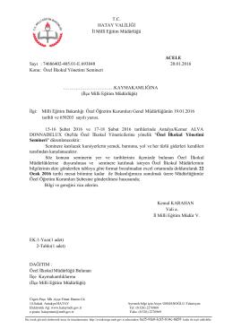 T.C. HATAY VALİLİĞİ İl Millî Eğitim Müdürlüğü ACELE Sayı