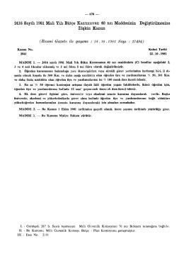 2416 Sayılı 1981 Mali Yılı Bütçe Kanununun 40 nci