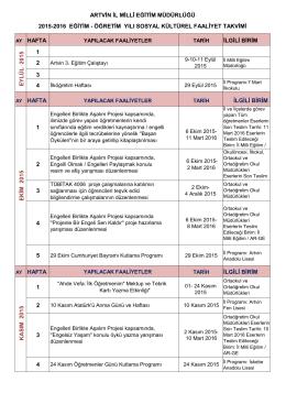 artvin il millî eğitim müdürlüğü 2015-2016 eğitim