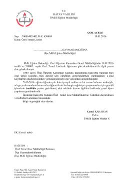 Özel Temel Liseler - İzmir İl Milli Eğitim Müdürlüğü