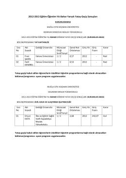 2012-2013 Eğitim-Öğretim Yılı Bahar Yarıyılı Yatay Geçiş Sonuçları