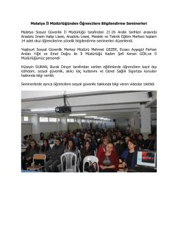 Malatya İl Müdürlüğünden Öğrencilere Bilgilendirme
