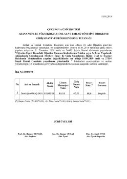 Adana Meslek Yüksekokulu Emlak ve Emlak Yönetimi Programı