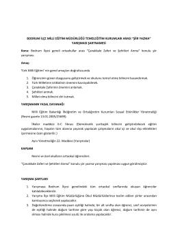 YARIŞMASI ŞARTNAMESİ Konu - Bodrum İlçe Milli Eğitim Müdürlüğü