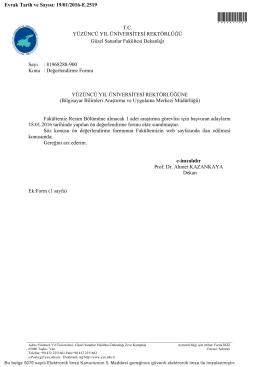 Değerlendirme Formu - Yüzüncü Yıl Üniversitesi