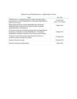 Akademik Teşvik Ödeneği Başvuru ve Değerlendirme Takvimi Süreç
