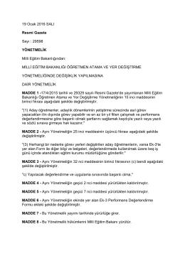 Milli Eğitim Bakanlığı Öğretmen Atama ve Yer Değiştirme