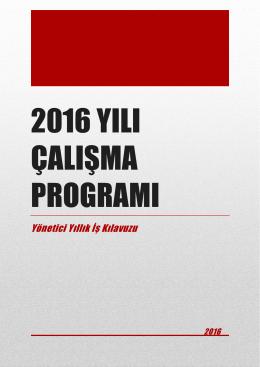 2016 Yılı Yönetici Yıllık İş Kılavuzu