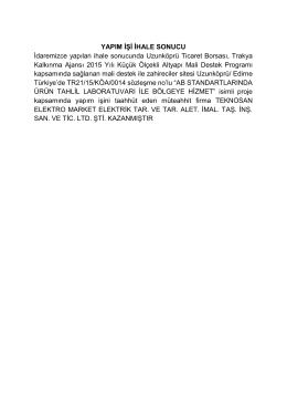Yapım İşi İhale Sonuçu - TR21-15-KÖA-0014