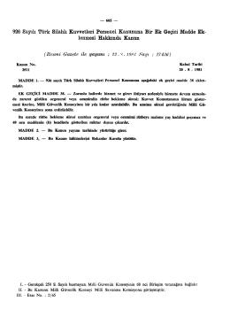 926 Sayılı Türk Silahlı Kuvvetleri Personel Kanununa Bir Ek