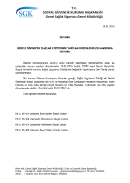 Bedeli Ödenecek İlaçlar Listesinde Yapılan Düzenlemeler