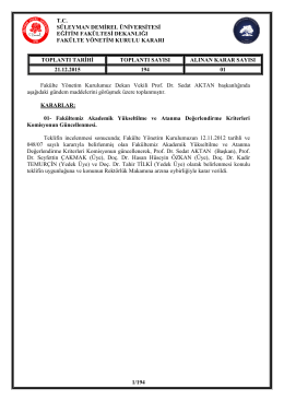 Fakülte Yönetim Kurulumuzun 194. Toplantı Kararları
