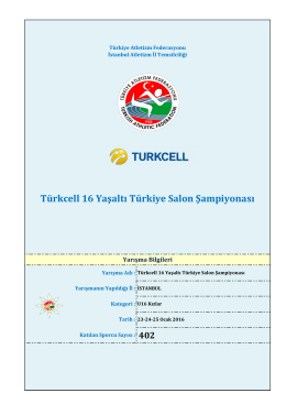 U 16 Kızlar - Türkiye Atletizm Federasyonu