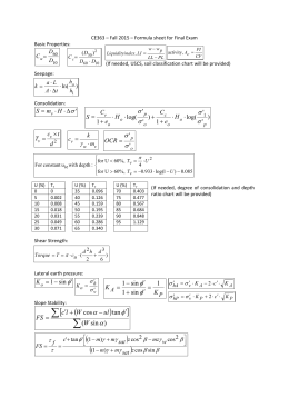 Formula Sheet for Final Exam