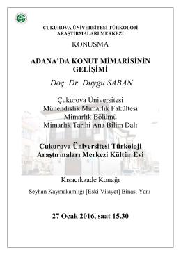 Doç. Dr. Duygu SABAN - Çukurova Üniversitesi