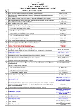 Çalışma Takvimi 2015-2016 - Kayseri Milli Eğitim Müdürlüğü