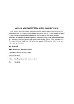 antalya milli takım sporcu gelişim kampı duyurusu